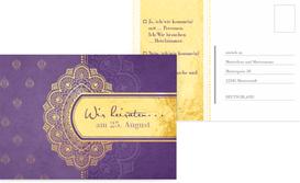 Antwortkarte zur Hochzeit Mumbai - Lila (K25)
