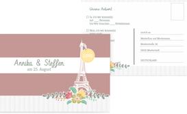 Antwortkarte zur Hochzeit Paris - Rot (K25)