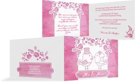 Hochzeitseinladung Vogelpaar - Pink (K19)