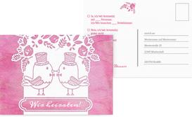 Antwortkarte zur Hochzeit Vogelpaar Zylinder - Pink (K25)