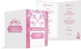 Hochzeitsmenükarte Vogelpaar Zylinder - Pink (K38)