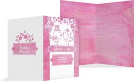 Hochzeit Kirchenheft Umschlag Vogelpaar - Pink (K38)