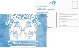 Antwortkarte zur Hochzeit Vogelpaar Zylinder - Blau (K25)