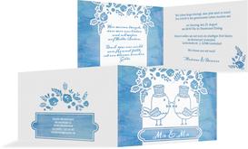 Hochzeitseinladung Vogelpaar Zylinder - Blau (K19)