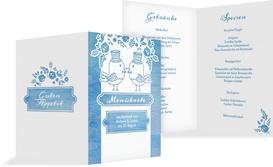 Hochzeitsmenükarte Vogelpaar Zylinder - Blau (K38)
