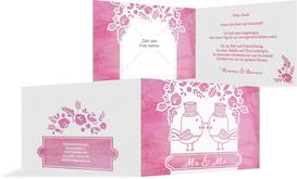 Hochzeit Danksagung Vogelpaar Zylinder - Pink (K19)