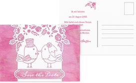 Save the Date Karte zur Hochzeit Vogelpaar - Pink (K25)