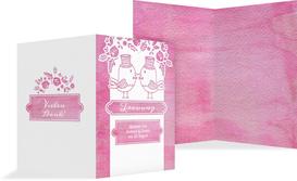 Kirchenheft Umschlag Vogelpaar Zylinder - Pink (K38)