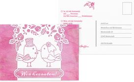 Antwortkarte zur Hochzeit Vogelpaar - Pink (K25)