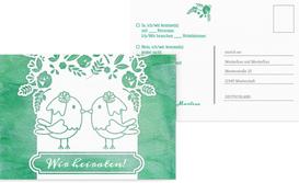 Antwortkarte zur Hochzeit Vogelpaar Brautkleid - Türkis (K25)