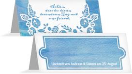 Hochzeitstischkarte Vogelpaar Zylinder - Blau (K32)