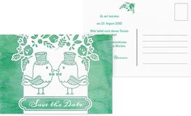 Save the Date Karte zur Hochzeit Vogelpaar Zylinder - Türkis (K25)