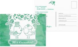 Antwortkarte zur Hochzeit Vogelpaar - Türkis (K25)