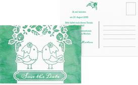 Save the Date Karte zur Hochzeit Vogelpaar Brautkleid - Türkis (K25)