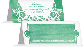 Hochzeitstischkarte Vogelpaar Brautkleid - Türkis (K32)