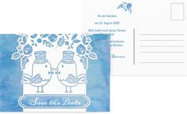Save the Date Karte zur Hochzeit Vogelpaar Zylinder - Blau (K25)