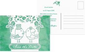Save the Date Karte zur Hochzeit Vogelpaar - Türkis (K25)