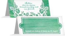 Hochzeitstischkarte Vogelpaar Zylinder - Türkis (K32)