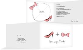 Hochzeit Danksagung High Heel und Fliege - Rot (K19)