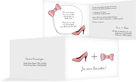 Hochzeitseinladung High Heel und Fliege - Rot (K19)