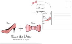 Save the Date Karte High Heel und Fliege - Rot (K25)