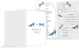Menükarte zur Hochzeit High Heel und Fliege - Blau (K38)