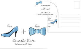 Save the Date Karte High Heel und Fliege - Blau (K25)