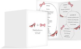 Menükarte zur Hochzeit High Heel und Fliege - Rot (K38)