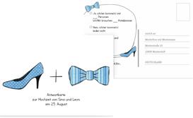 Antwortkarte High Heel und Fliege - Blau (K25)