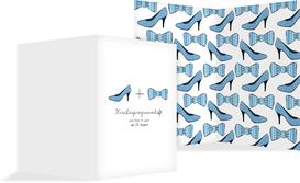 Kirchenheft Umschlag zur Hochzeit High Heel und Fliege - Blau (K38)