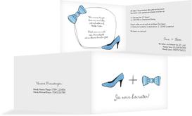 Hochzeitseinladung High Heel und Fliege - Blau (K19)