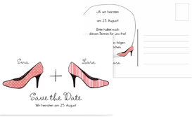 Save the Date Karte High Heels - Rot (K25)