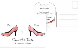 Save the Date Karte High Heels - Rot (K25)