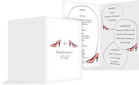Menükarte zur Hochzeit High Heels - Rot (K38)