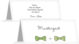 Tischkarte zur Hochzeit Fliegen - Grün (K32)