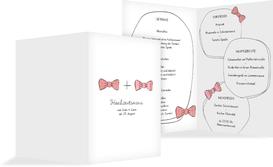 Menükarte zur Hochzeit Fliegen - Rot (K38)