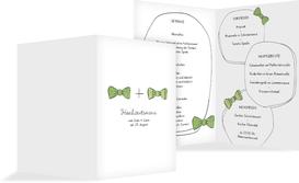 Menükarte zur Hochzeit Fliegen - Grün (K38)