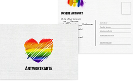 Antwortkarte zur Hochzeit Regenbogenliebe - Weiß (K25)
