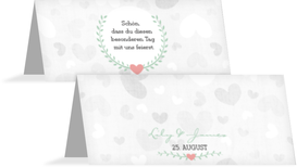 Tischkarte zur Hochzeit Zarte Ranke - Türkis (K32)