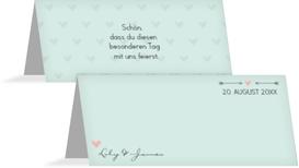 Tischkarte zur Hochzeit Pärchen - Grün (K32)