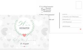 Antwortkarte zur Hochzeit zarte Ranke - Türkis (K25)