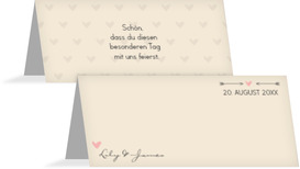 Tischkarte zur Hochzeit Pärchen - Braun (K32)