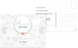Save the Date Karte zur Hochzeit zarte Ranke - Türkis (K25)