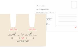Save the Date Karte zur Hochzeit Pärchen - Frauen - Braun (K25)
