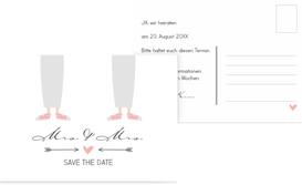Save the Date Karte zur Hochzeit Pärchen - Frauen - Weiß (K25)
