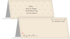 Tischkarte zur Hochzeit Pärchen - Frauen - Braun (K32)