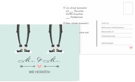 Antwortkarte zur Hochzeit Pärchen - Männer - Grün (K25)