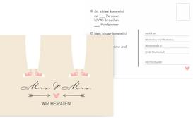 Antwortkarte zur Hochzeit Pärchen - Frauen - Braun (K25)