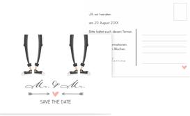 Save the Date Karte zur Hochzeit Pärchen - Männer - Weiß (K25)