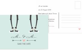 Save the Date Karte zur Hochzeit Pärchen - Männer - Grün (K25)